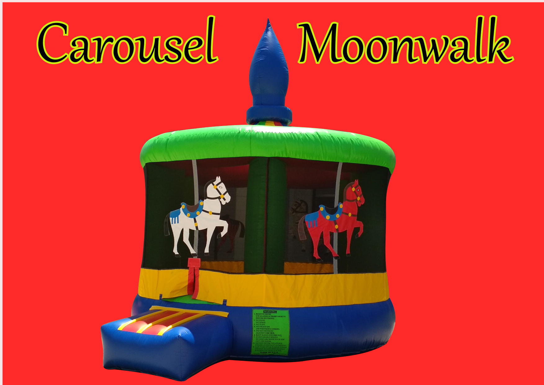 Carousel themed bouncy house